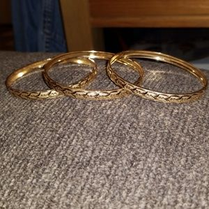Brand New Chamonix gold plated etched bangles